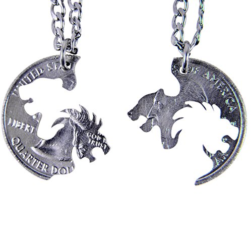 MaryCrafts Set Hand Cut coin Lion and Lioness Interlocking Necklace Jewelry Relationship BFF 20