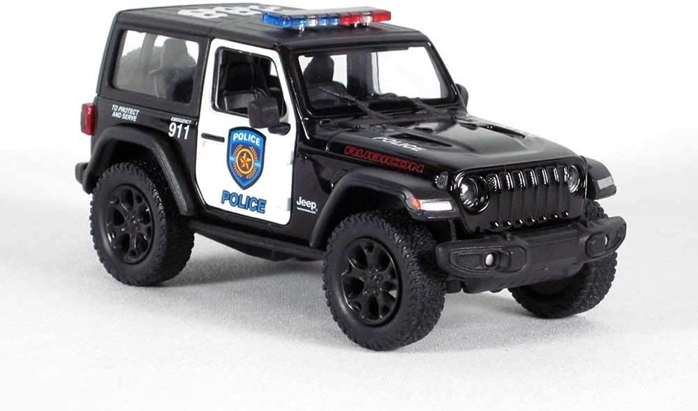 Black//White 2018 Jeep Wrangler Rubicon Police Edition dcx 5 Die-cast