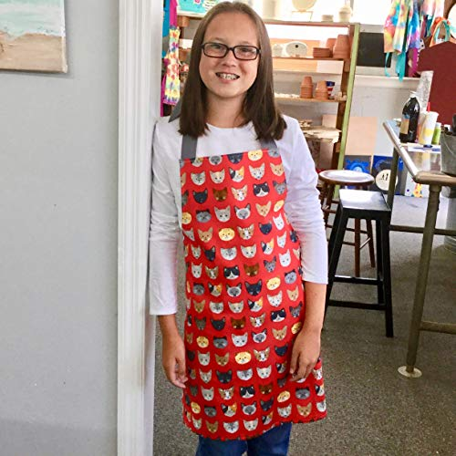 Tween Girl Red Cats Kitchen Art or Craft Handmade Gift Apron from Sara Sews, Inc.