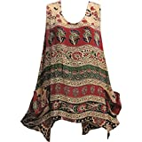 Bagroo Print Sleeveless Two Pocket Tunic Cami Tank Top Blouse
