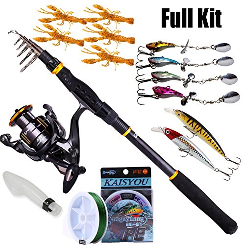 Sougayilang Fishing Rod Reel Combos Carbon Telescopic Fishing Rod Pole with Spinning Reel Line Lures Accessories Combo Sea Saltwater Freshwater Fishing Rod Kit (Fishing Full Kit, 5.91Ft Rod)