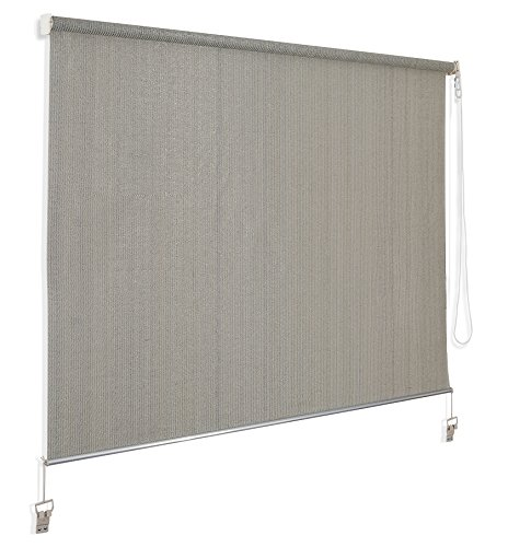 Cross Land Cord Pull Exterior Sun Shades (6'Wx6'L, Birch) (Patio Roll Down Shades)