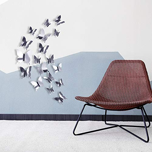 BBTO 48 Pieces DIY Mirror Butterfly Combination 3D Butterfly Wall Stickers Decals Home Decoration (Silver) 4
