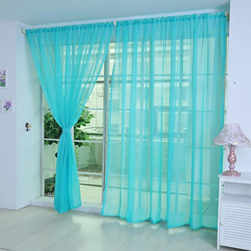 Clearance Sale!DEESEE(TM)1 PCS Pure Color Tulle Door Window Curtain Drape Panel Sheer Scarf Valances (H)