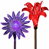 SolarDuke Solar Garden Outdoor Flower Stake Lights Color Changing Sunflower Lily Flower for Garden Patio Decor