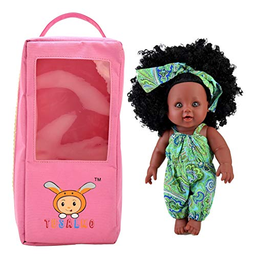 TUSALMO 2019 Newest 12 inch Lifelike Silicone Vinyl Toy Dolls, African American Black Reborn Baby Dolls, give for Kids and Girl Holiday Birthday Gift(Green)