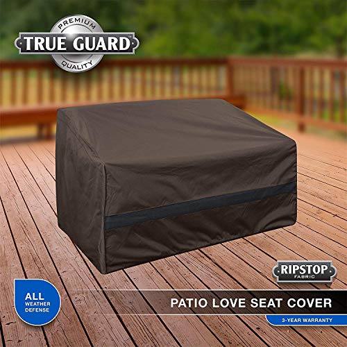 True Guard Patio Furniture Covers Waterproof Heavy Duty – Loveseat Cover, 600D Rip-Stop, Fade/Stain/UV Resistant for Outdoor Patio Furniture, Dark Brown
