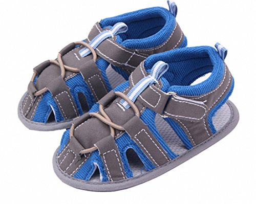 Blue Edge Gray Male Baby Sandals Soft Bottom Toddler Shoes (13cm(12-18months baby))