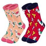 Girl's Novelty Socks - 2-Pair Animal Casual Crew Socks, Llama Alpaca Design, For Age 10-14