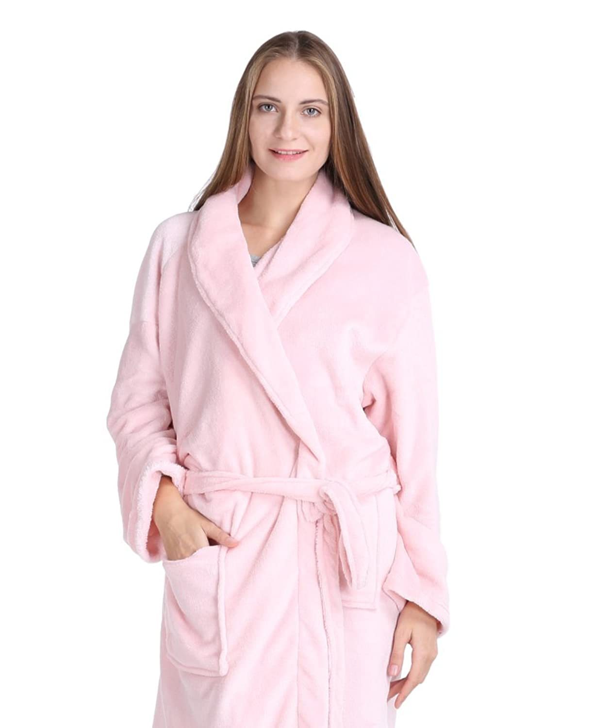 02c8c90a26 Pembrook Ladies Robe - Plush Fleece – Kimono Wrap – Spa Bathrobe Women