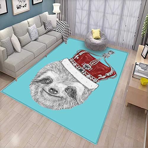 (Sloth Queen Size Door Mats Area Rug Cute Hand Drawn Animal with Imperial Ancient Crown King of Laziness Theme Bath Mat Non Slip Aqua Burgundy Grey)