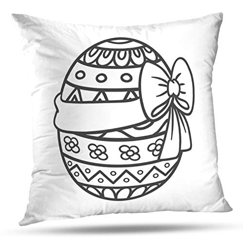 LALILO Throw Pillow Covers Easter Egg with Ribbon Coloring Book Themes Double-Sided Pattern for Sofa Cushion Cover Couch Decoration Home Bed Pillowcase 18x18 inch
