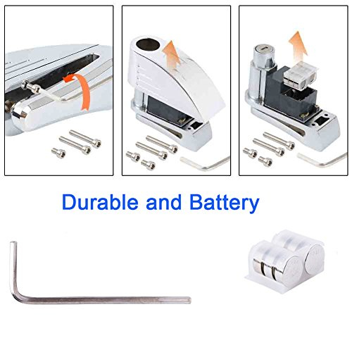 ILamourCar Disc Brake Lock,Alarm Disc Lock,Motorcycle Bike Anti-theft&Waterproof Brake Disc Wheel Alarm Security Lock,110dB Alarm Sound and 6mm Pin with 1.3m Reminder Cable for Motorcycles - Black by ILamourCar (Image #6)