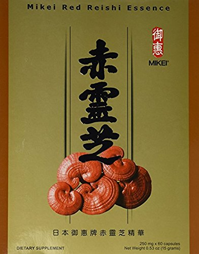 Mikei Red Reishi Essence 60 Capsules Ganoderma Lucidum Extract Powder 250mg Dietary Supplement Product Made in Japan