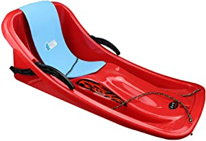 Guoyajf Winter Snow Sled,86cm Durable Downhill Sprinter Toboggan Snow Sled for Kids Boys Girls Adults with Brakes & Pulling Rope & Self-Heating Pad