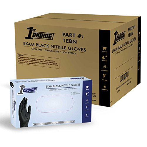 X-large 1 Case - 1st Choice Black Nitrile Disposable Gloves, Case of 1000 - Exam/Medical, Latex Free