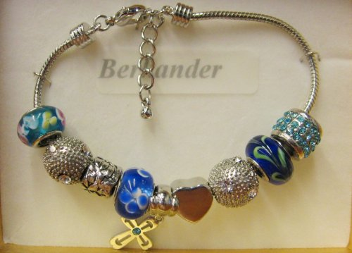 (Silver Plated Charm Bracelet (JC P11816/BX) Light Sapphire/Crystal Beads on Adj. Chain - Boxed)