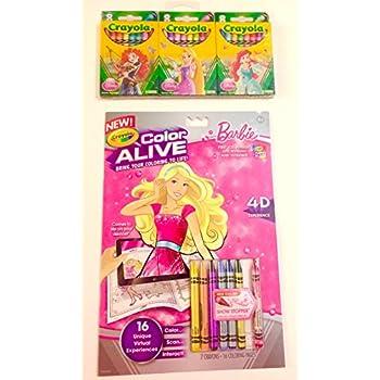 barbie crayola color alive coloring book 2pce bundle with princess crayons - Color Alive Coloring Book