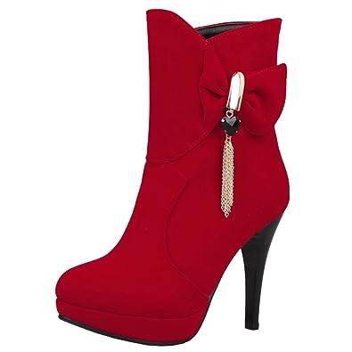 AIYOUMEI Damen Rounde Zehen Stiletto High Heels Stiefeletten mit Schleife Herbst Winter Elegant Ankle Boots WcYDaN