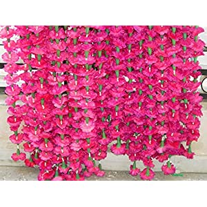 Genx 5 Pack Artificial Pink Marigold Flower Garlands/Strings 5 ft Long- for use in Parties, Celebrations, Indian Weddings, Indian Themed Event, Decorations 69