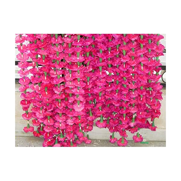 Genx 5 Pack Artificial Pink Marigold Flower Garlands/Strings 5 ft Long- for use in Parties, Celebrations, Indian Weddings, Indian Themed Event, Decorations