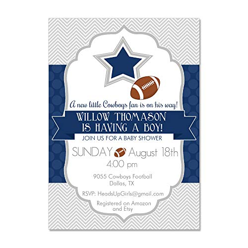Set of 12 Personalized Baby Shower Invitations and Envelopes with Dallas Texas Cowboys Football -