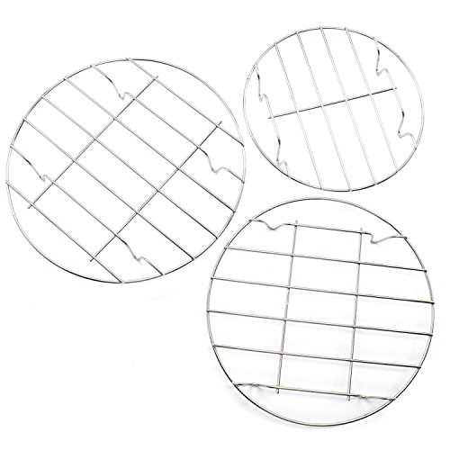 (IDS 3 Pcs Stainless Steel Round Vegetable Steamer Rack Air Fryer Rack for Cooking Baking Cooling Rack Chrome Plated 8