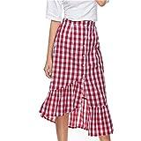 Lavany Women's Ruffled Plaid Skirt Button Front Asymmetrical Mid-Calf Skirt for Girl