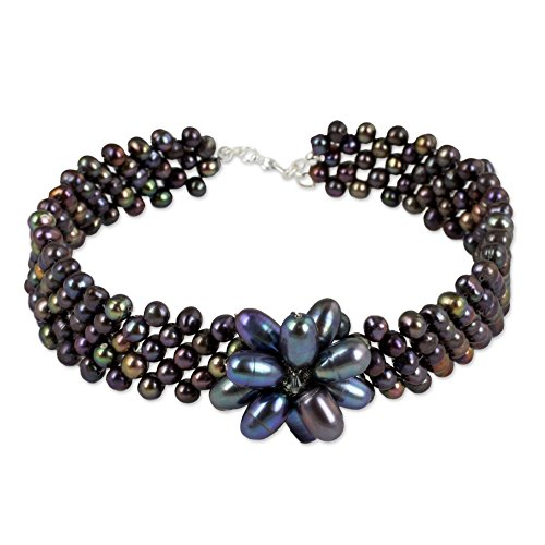 NOVICA Dyed Black Cultured Freshwater Pearl Stainless Steel Choker Necklace, 11.75 , Purple Romance