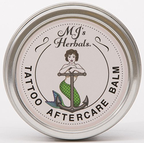 (MJ's Herbals Tattoo Aftercare Balm - Two Ounce Concentrate: Organic Herbs and Oils, Salve, Ointment, Moisturizer, Handmade in Brooklyn USA, No Paraben, No Lanolin, No Gluten, No Animal Testing)