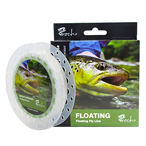 Free Fly Line - Croch Weight Forward Fly Fishing Line WF 3F 5F 7F 100ft (Moss Green) + 30lb Backing 50YDS + 9ft Leader