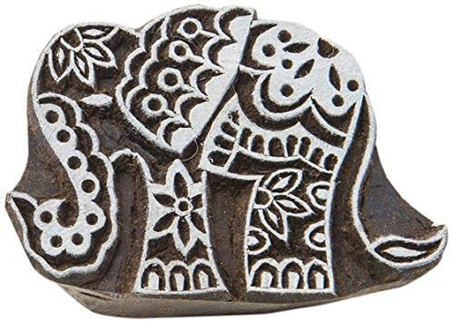 Fabric Textile Paper Pottery Block Printing Stamp Handmade Print Blocks Elephant Design Blocks Stamp Shaped Wood Stamps
