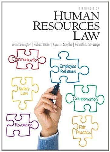 Amazon Com Human Resources Law Th Edition  John Remington Richard T Heiser Cyrus Smythe Kenneth Sovereign Books