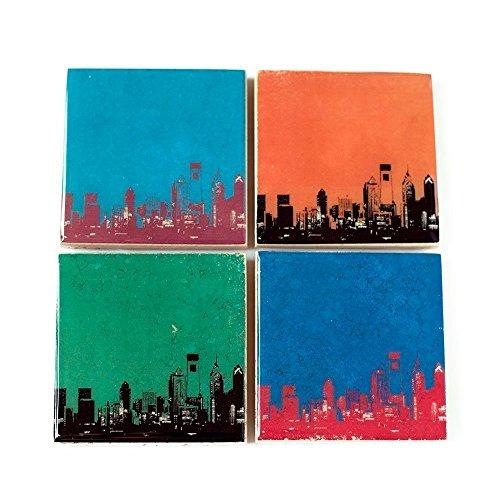 Philadelphia Skyline Sports Coaster Set (4 Stone Coasters) Philly Decor ()