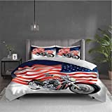 Miles Ralph Manly Extra Large Duvet Cover Motorbike and US Flag with Two Pillowcases 104x89 inch
