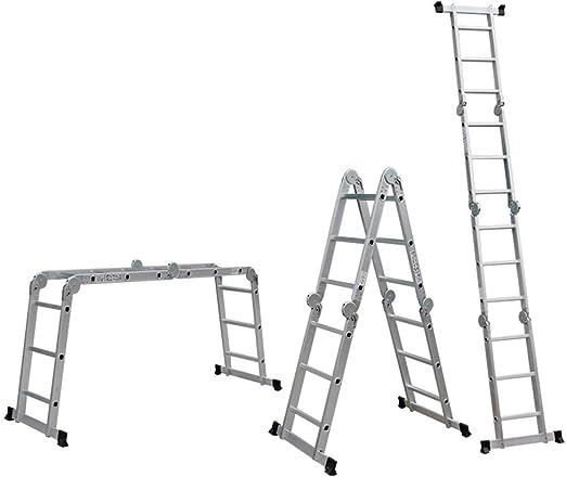Escalera Plegable - Extensión Extensible De Aluminio Escalera Trapezoidal Plegable, Carga 330 Libras, En Línea con Las Normas En131 Y CE,6.9M: Amazon.es: Jardín