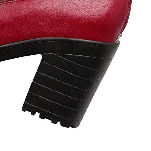 Ricamati Round Da Delle toe Cerniera Weenfashion Donne Alto Pompe Rossi talloni Pu calzature BpnB6grx