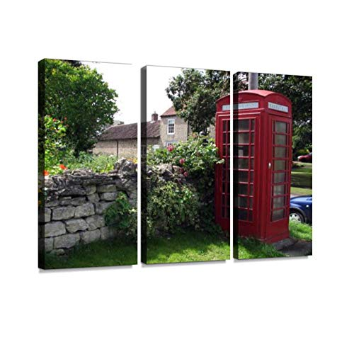 7houarts Village Phone Box with Rustic Stonewall Canvas Wall Artwork Poster Modern Home Wall Unique Pattern Wall Decoration Stretched and Framed - 3 Piece ()