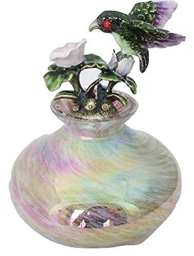 Welforth Fine Pewter Hummingbird Rainbow Pink Purple Perfume Glass Vanity Bottle