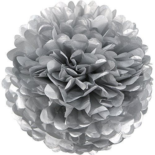 Lightingsky 10pcs Paper Tissue Pom Poms DIY Flowers Ball for Wedding Party Home Decoration (8 inch, Silver)