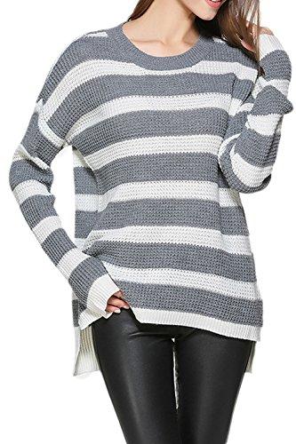 Women 's Autumn Long Sleeve Scoop Cuello Alto Bajo La Sudadera Jersey De Punto Liso Greywhite