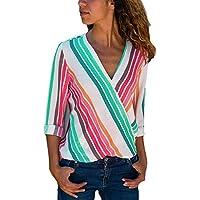 HOTAPEI Womens Casual V Neck Striped Chiffon Blouses Long Sleeve Wrap Tops Shirts
