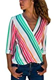 HOTAPEI Womens Casual V Neck Striped Chiffon Blouses and Tops Long Sleeve Wrap Business Shirts Colorful Small