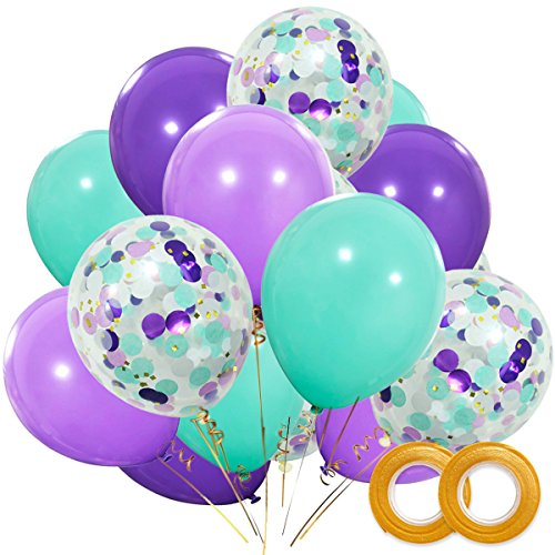 Mermaid Balloons 40 Pack, 12 Inch Light Dark Purple Seafoam Blue Latex Balloons with Confetti Balloon for Mermaid Party Decorations Birthday Party Supplies with Ribbon