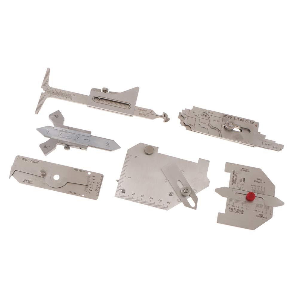 Flameer 6 PCS Stainless Steel Welding Inspection Gauge Combo Set MG-8 MG-11 V-WAC Hi-Lo Gage