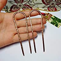 Set of 2 Metal Hair Forks for Long Hair, U-shape Hammered Copper Hair Pins, Custom Length, Handmade Boho Style Hair Accessories