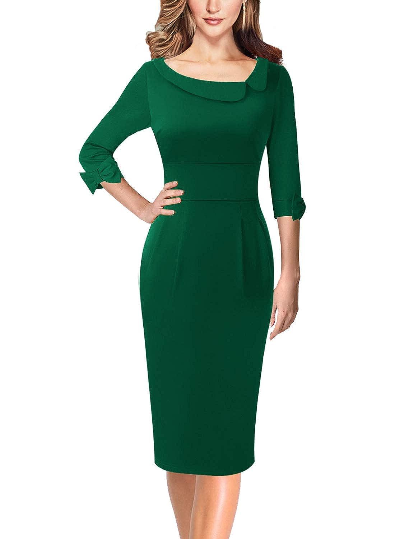 Green VFSHOW Asymmetric Neck Lapel Bow Sleeve Work Business Cocktail Sheath Dress