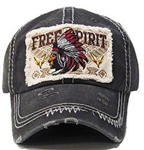 Free Spirit Indian Head Washed Cotton Vintage Ball Cap.