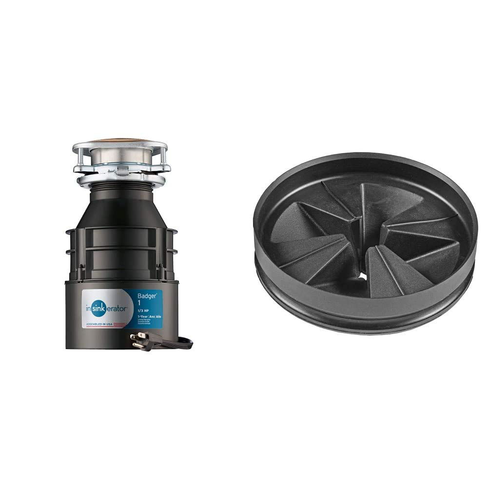 InSinkErator Garbage Disposal with Cord, Badger 1, 1/3 HP Continuous Feed & QCB-AM Anti-Microbial Quite Collar Sink Baffle for Evolution Series, Black