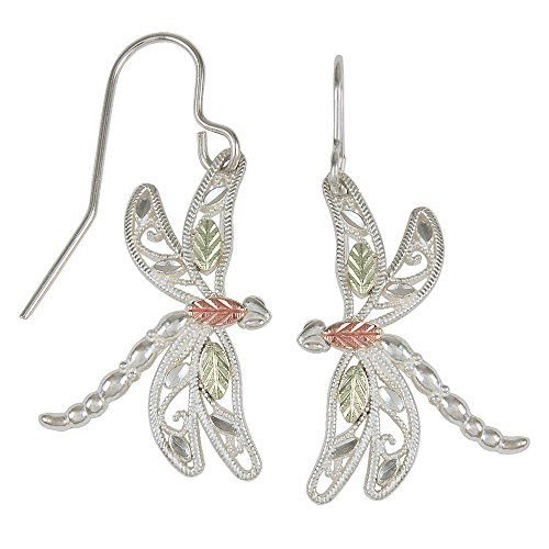 - Sterling Silver Black Hills Gold Dragonfly Earrings